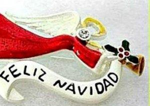 Angel Feliz Navidad Holiday Pin Brooch Christmas Jewelry