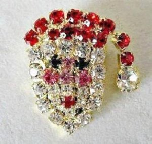 Santa Face Pin Brooch Multi Colored Crystals Christmas Holiday Jewelry