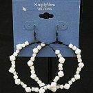 Vera Wang White Glass Beaded Hoop Pierced Earrings