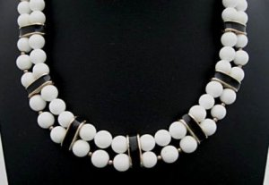Black and White Double Strand Vintage Necklace
