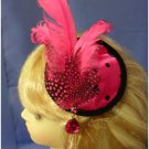 Hot Pink & Black Fascinator with Earrings