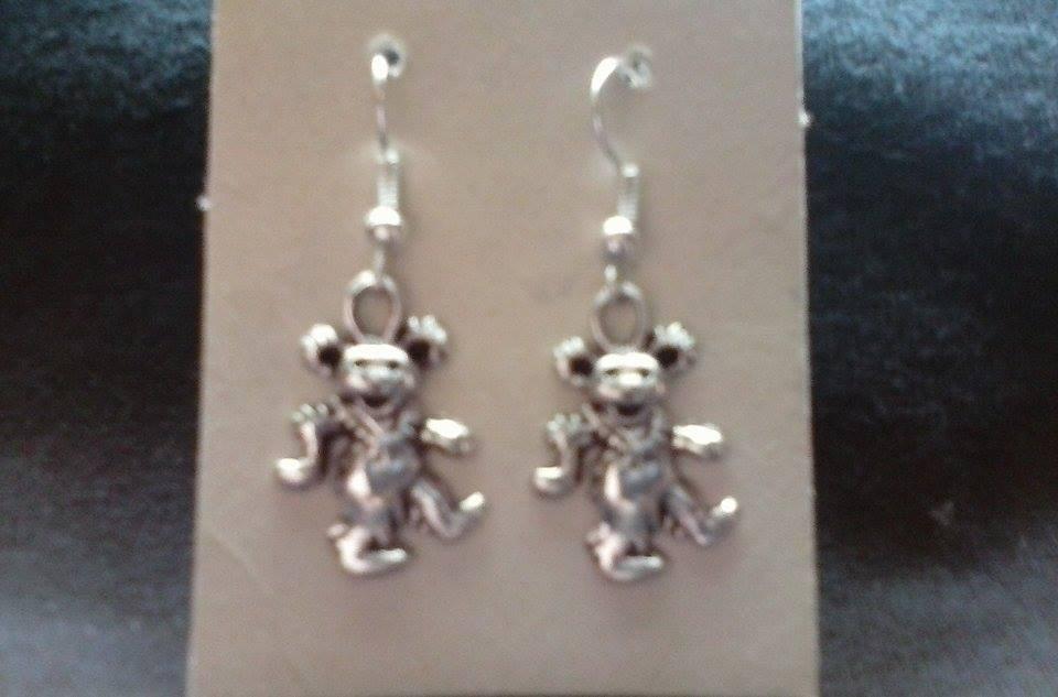 NEW Silver Tone Grateful Dead Teddy Bear Ear Rings