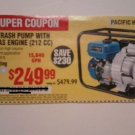 "Harbor Freight Coupon For 3"" Full Trash Pump With 6.5 HP Gas Engine"