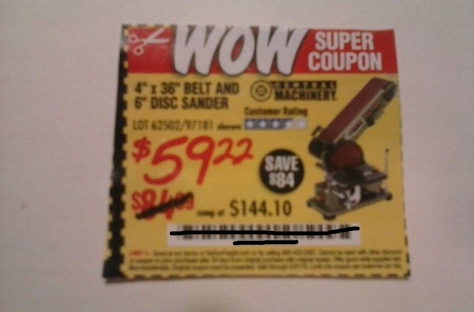 "Harbor Freight Coupon For 4""x36"" Belt and 6"" Disk Sander"