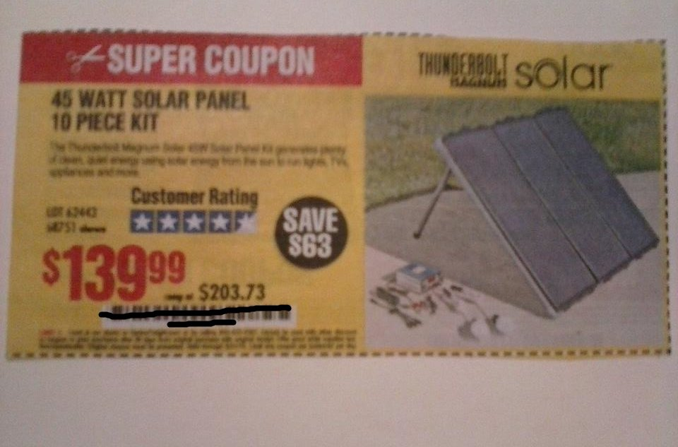 Harbor Freight Coupon For 45 Watt Solar Panel 10 pc. Kit