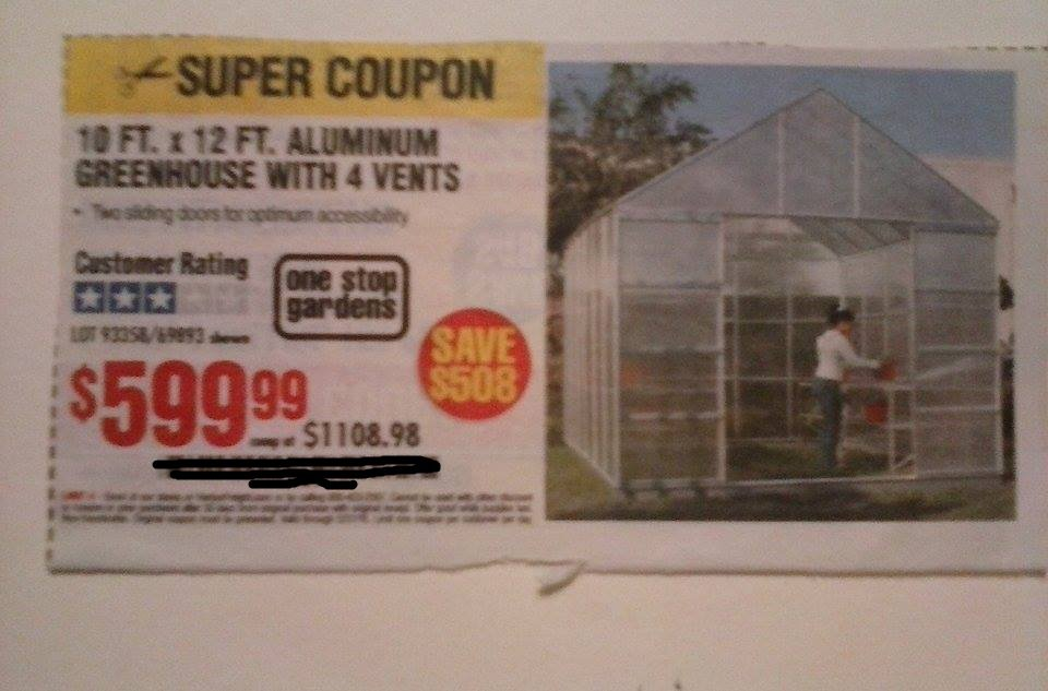 Harbor Freight Coupon For 10 FT. x 12 FT. Aluminum Greenhouse With 4 Vents.