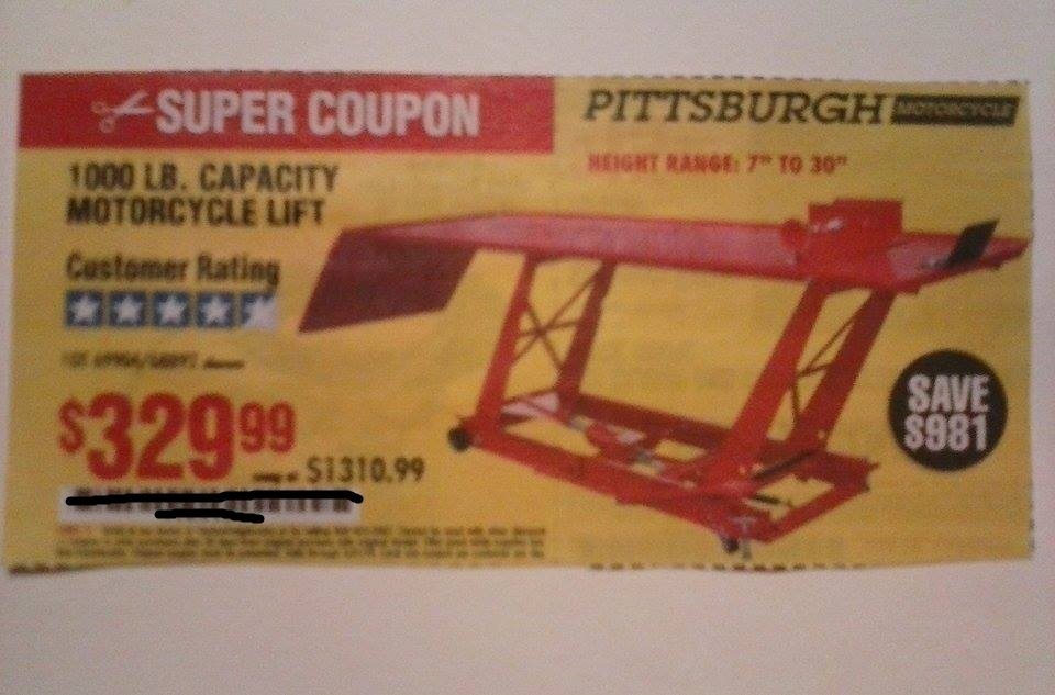 Harbor Freight Coupon For 1000 LB. Capacity Motorcycle Lift. SAVE $981.00