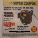 "Harbor Freight Coupon For Premium Retractable Air Hose Reel With 3/8"" x 25 FT. Hose. SAVE $50.00"