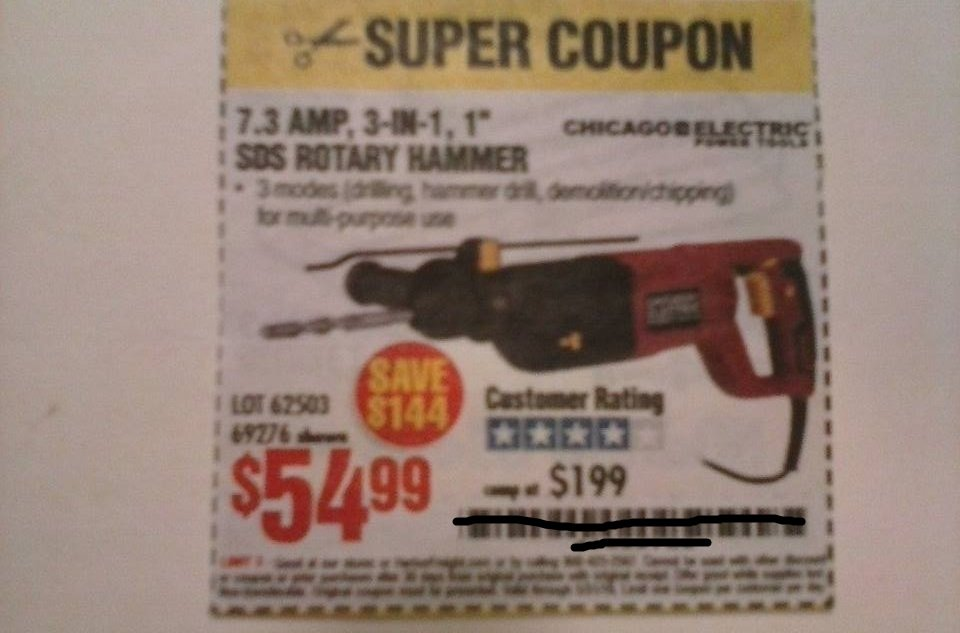 "Harbor Freight Coupon For a 7.3 Amp 3-in-1, 1"" SDS Rotary Hammer. SAVE $144"