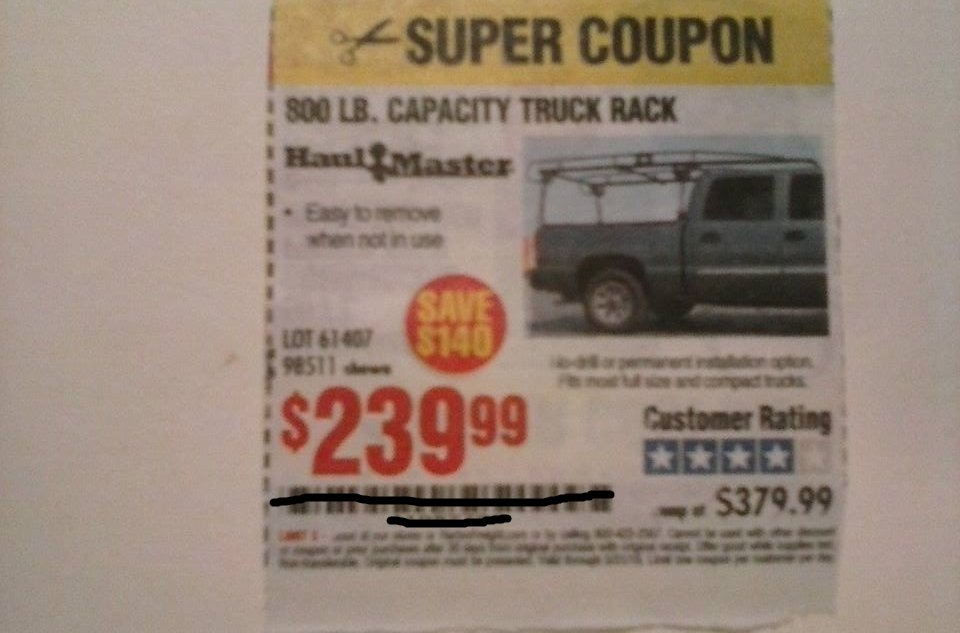 Harbor Freight Coupon For 800 LB. Capacity Truck Rack. SAVE  $140