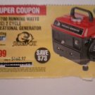 Harbor Freight Coupon For 900 Peak/700 Running Watt 2HP, 2 Cycle Gas Generator