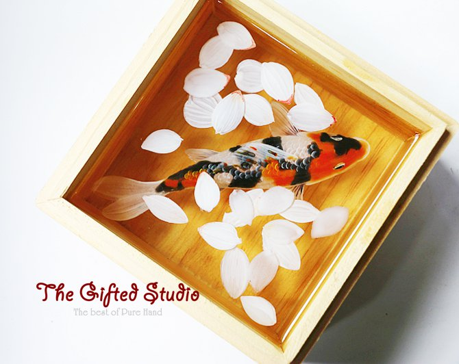 Spots Koi with oriental cherry resin painting