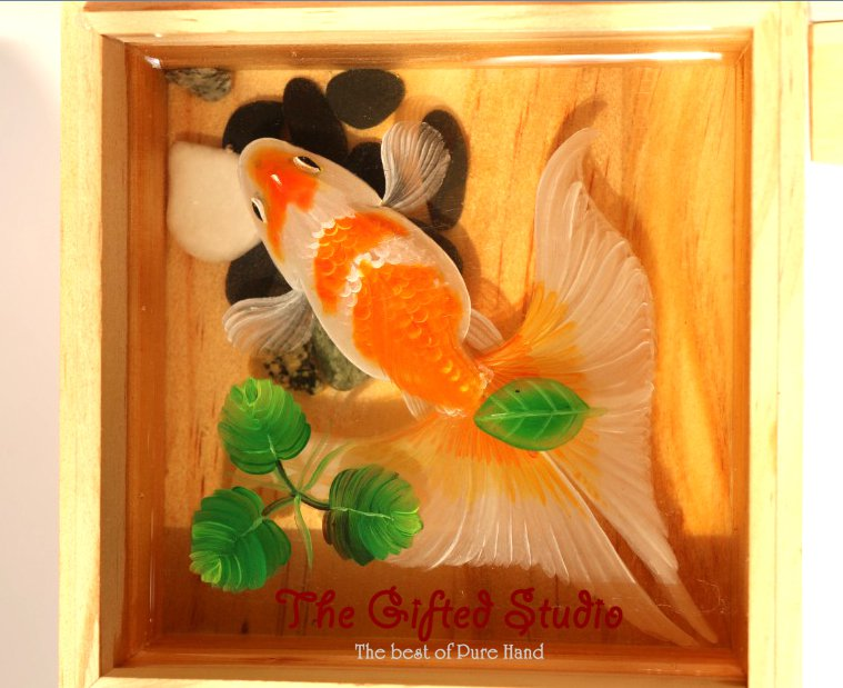 Orange and white Koi with clover resin painting