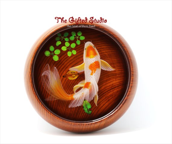 Red orange spot Koi resin painting