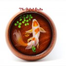 Red orange spot Koi resin painting