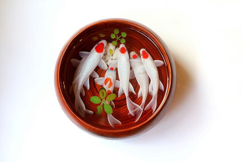 White Tancho Koi resin painting