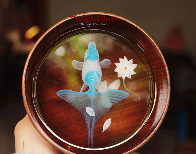 Blue Koi resin painting in the wooden bowl