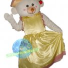 Free Shipping Wedding Care Bear with yellow dress Mascot Costume for Wedding Party and Events