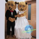 Free Shipping Wedding Care Bear Couple Mascot Costume for Wedding Party and Events