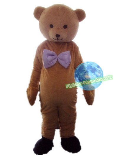 Free Shipping Baby Bear with bow Mascot Costume for Birthday Party and Events