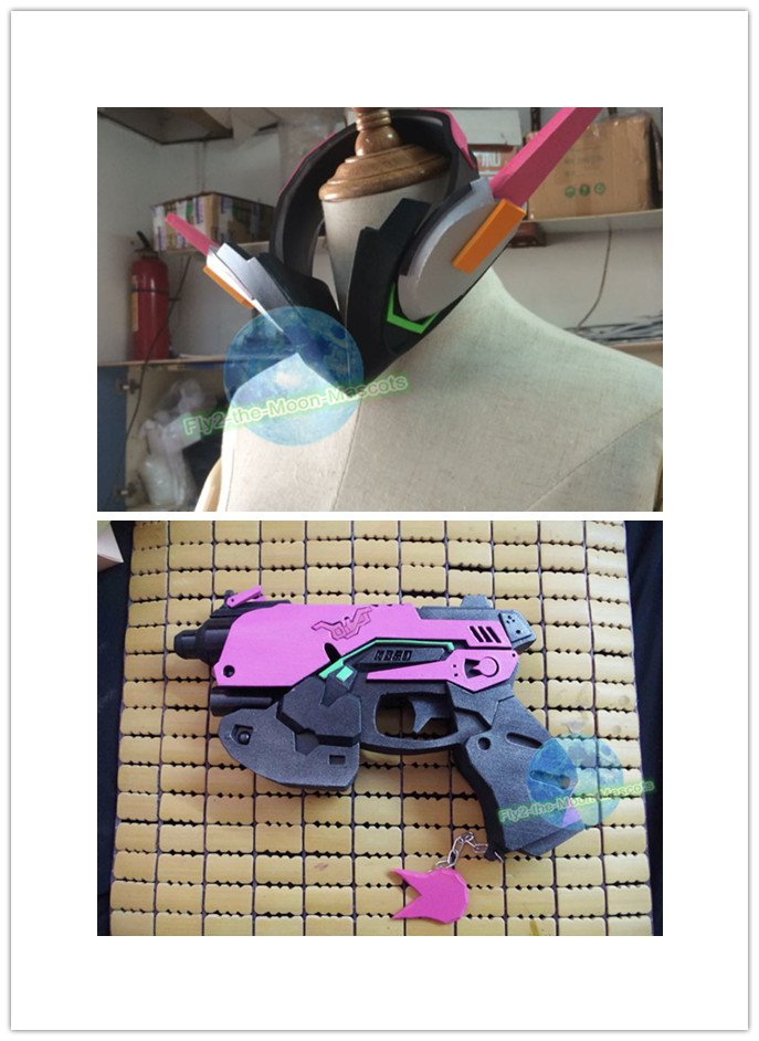 Overwatch D.va DVA Cosplay headset Gun handgun props accessories