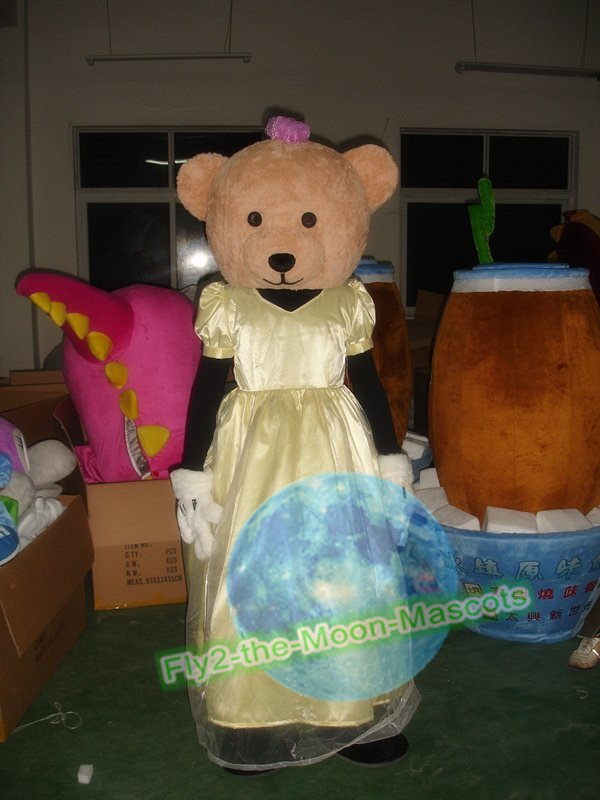 Free Shipping Girl Bear Mascot Costume for Wedding Birthday Party