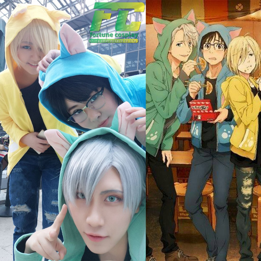 Free Shipping Yuri on Ice Cat Hoodie Victor Katsuki Yuri Plisetsky cosplay costume