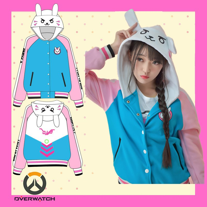 Free Shipping Overwatch D.VA Bunny Baseball Jacket Hoodie