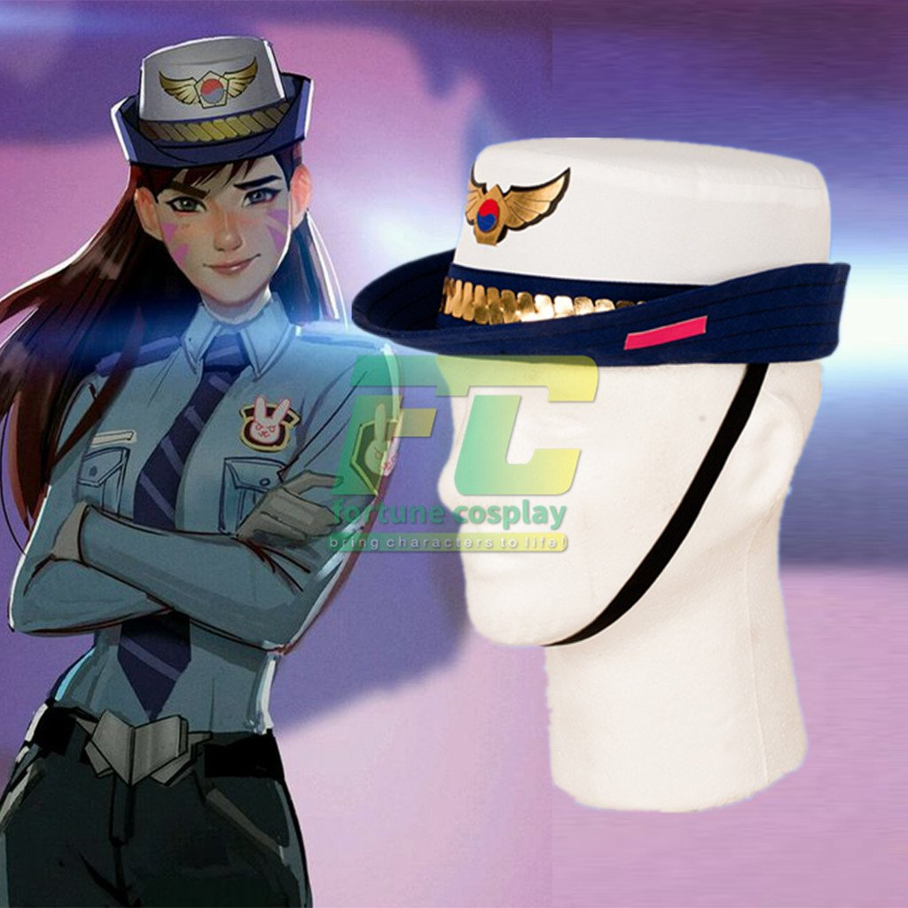 Free Shipping Overwatch D.VA police cap cop  DVA hat cosplay costume
