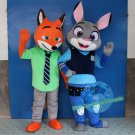 Free Shipping New Zootopia Officer Judy Hopps Rabbit Nick Fox Mascot Costume for Adult