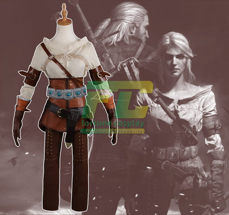 Free Shipping Presale Witcher 3 Wild Hunt Ciri Cirilla Fiona Elen Cosplay Costume