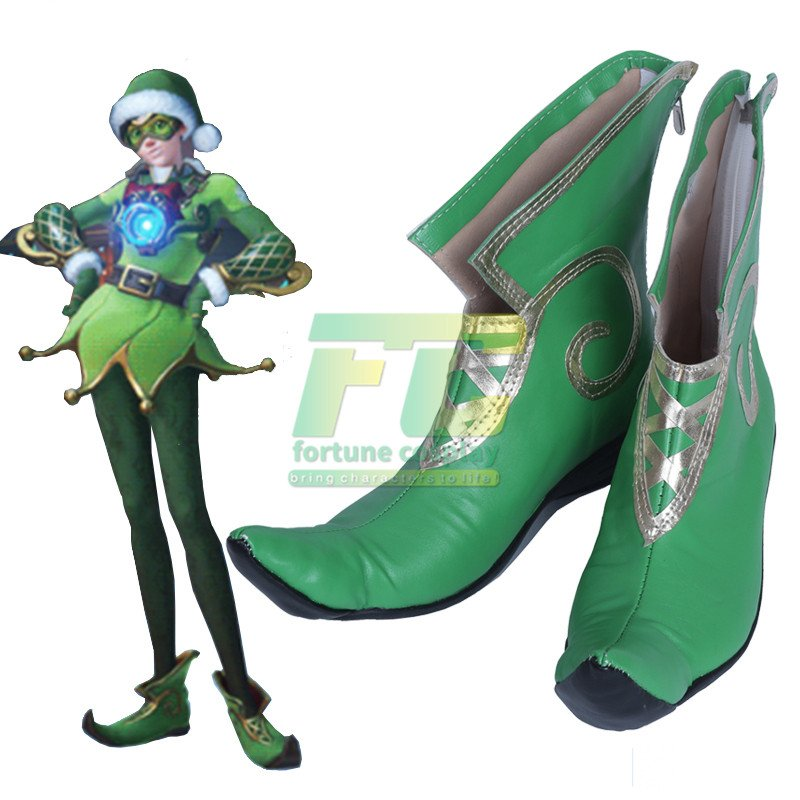 Free Shipping Tracer Christmas Elf Cosplay Shoes Boots Overwatch OW