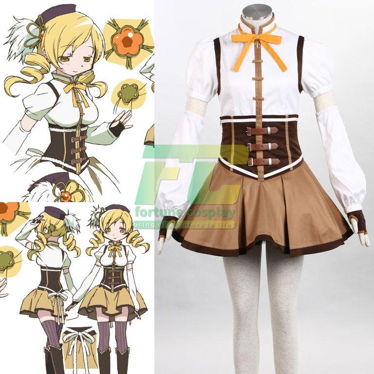 Free Shipping Puella Magi Madoka Magica Mami Tomoe Cosplay Costume