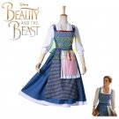 Free Shipping Beauty and the Beast Princess Bella Peasant Dress Cosplay costume