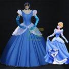 Free Shipping Princess Cinderella Classic Blue Dress Halloween Cosplay Costume