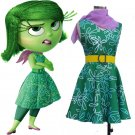 Free Shipping Movie Inside Out Fancy Dress Disgust Cosplay Costume