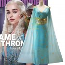 Free Shipping Game of Thrones cosplay costumes Daenerys Targaryen cosplay sky blue dress