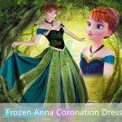 Free Shipping Frozen Anna Coronation cosplay costume Dress Custom Made Dulex