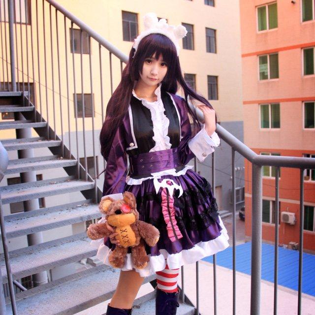 a9b3958f5cb0 Free Shipping League of Legends Dark Girl Anne Purple Lolita Dress cosplay  costume with Bear