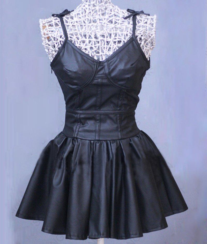 da08fece622c Free Shipping Future Diary Mirai Nikki Gasai Yuno Anime Cosplay Costume  Black Leather Dress