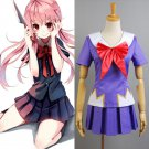 Free Shipping Future Diary Mirai Nikki Gasai Yuno Anime Cosplay Costume School Uniform