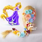 Free Shipping Tangled Princess Rapunzel Wig Cosplay Long Blonde Braid Synthetic Hair +flowers
