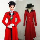 Free Shipping Mary Poppins Cosplay Costume Red Jacket Hat Custom Made