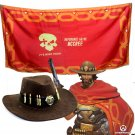 Free Shipping OW Jesse Mccree Cowboy Cosplay Hat Prop Copper Cape
