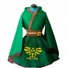 Free Shipping The Legend of Zelda Link Green Lolita Kimono Dress Cosplay Costume 2