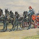 Victor Six-Pony Hitch Postcard Vintage Horses Fire Wagon