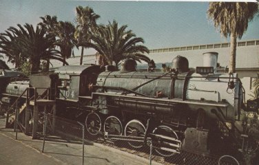 Engine 104 Train Postcard Railroad Steam Locomotive