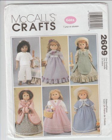 McCall's Crafts 2609 Sewing Pattern 19th Century Historical 18 Inch Doll Clothes