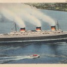 Postcard S. S. NORMANDIE Linen Vintage Ship