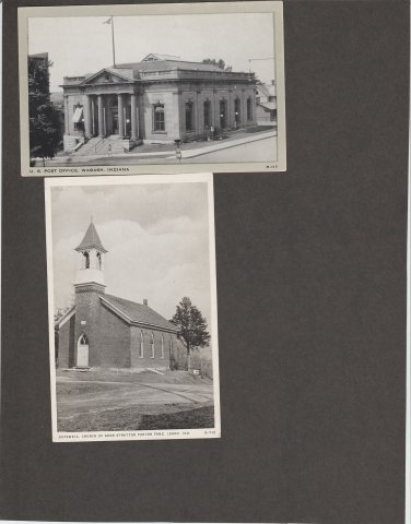 Indiana Postcards Lot of 2 Post Office Wabash Church Lagro